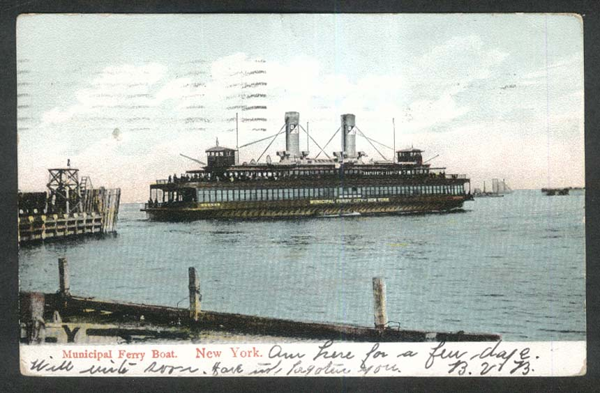 Municipal Ferry Boat New York NY postcard 1908