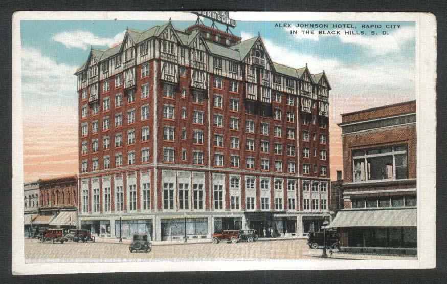 Alex Johnson Hotel Rapid City Black Hills SD postcard 1920s