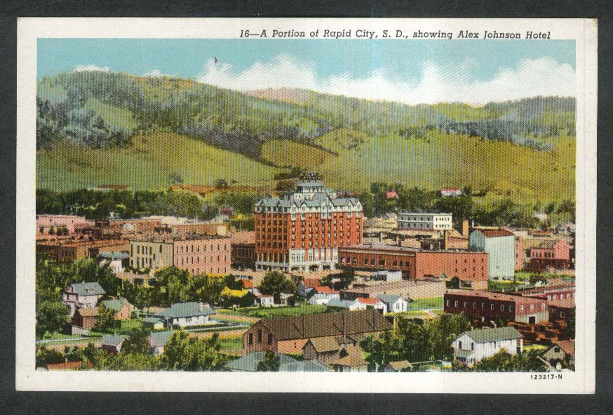Alex Johnson Hotel Rapid City SD postcard 1930s