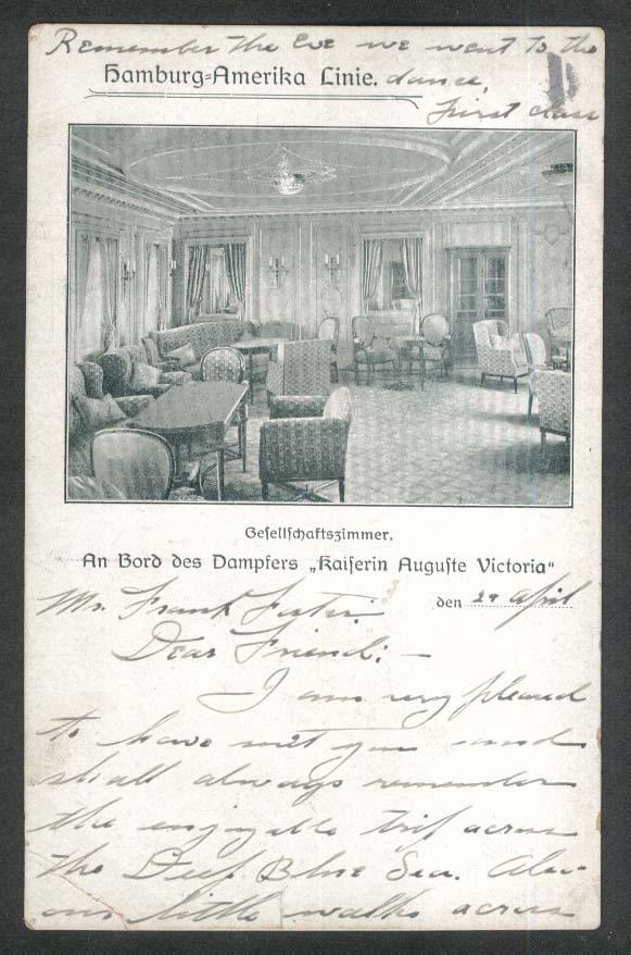 Hamburg-Amerika Linie society room Kaiserin Auguste Victoria postcard 1908