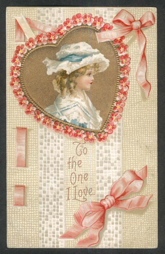 To the One I Love blonde girl in bonnet gilded embossed Valentine postcard 1910