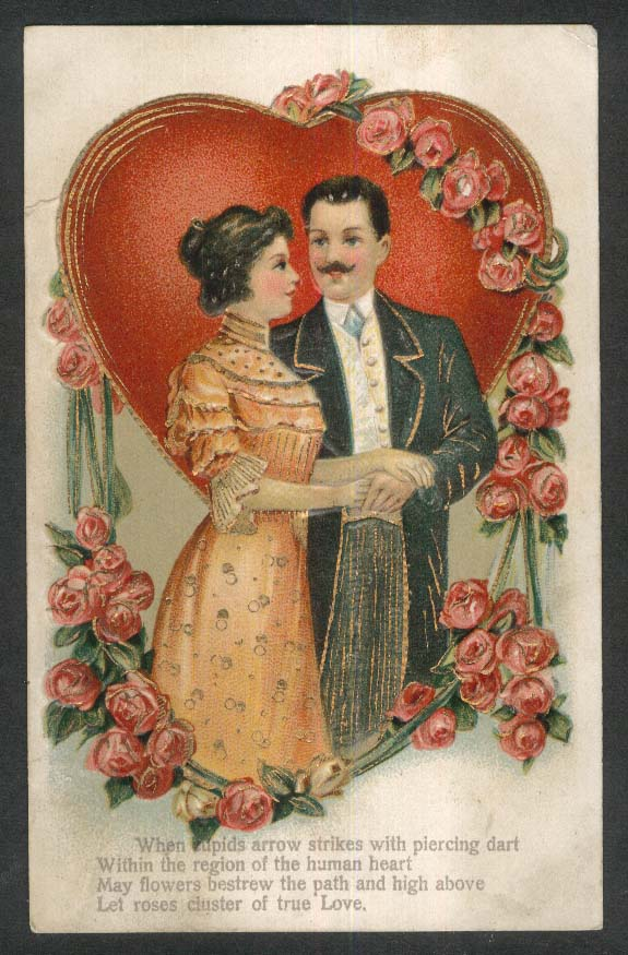 Lady & Mustachioed Man Roses Valentine gilded embossed postcard 1907
