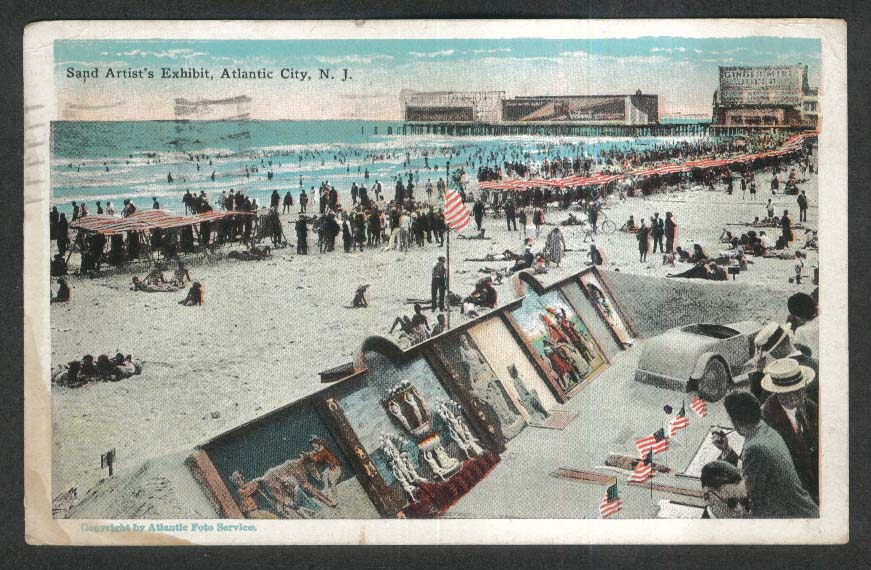 Sand Artist's Exhibit Atlantic City NJ postcard 1928