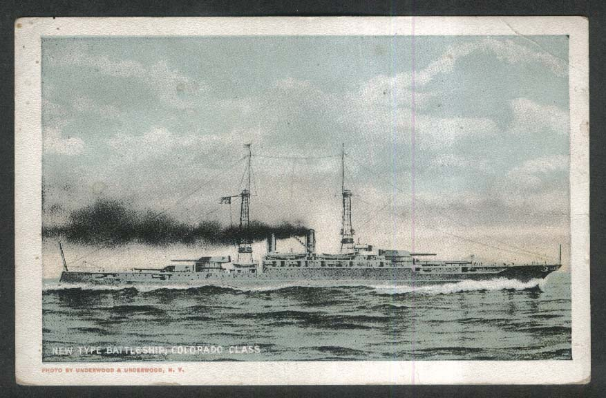 New Type Battleship Colorado Class postcard 1910s