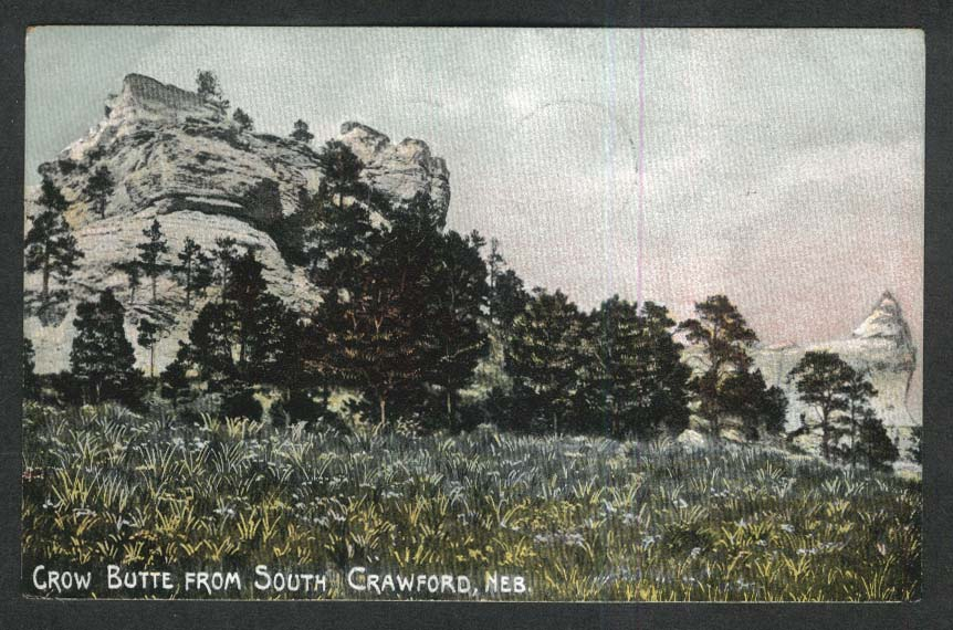 Crow Butte from South Crawford NE postcard 1908