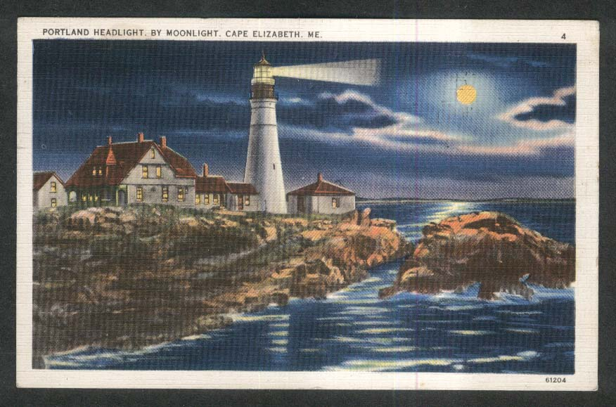 Portland Headlight by Moonlight Cape Elizabeth ME postcard 1937