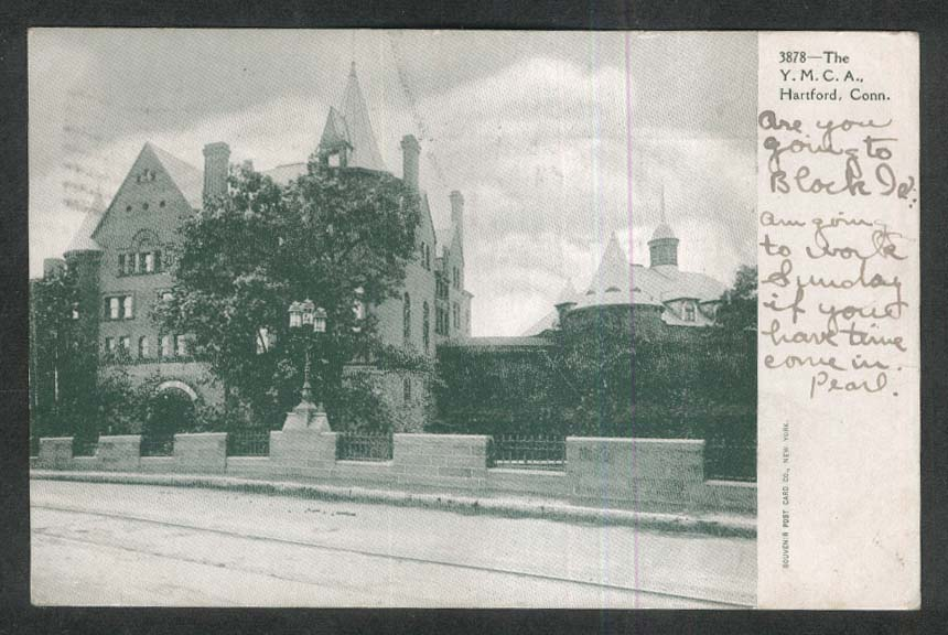 Y M C A YMCA Hartford CT undivided back postcard 1910