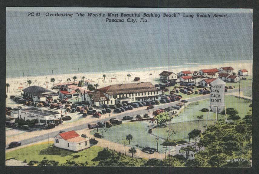 Overlooking Bathing Beach Long Beach Resort Panama City FL postcard 1949