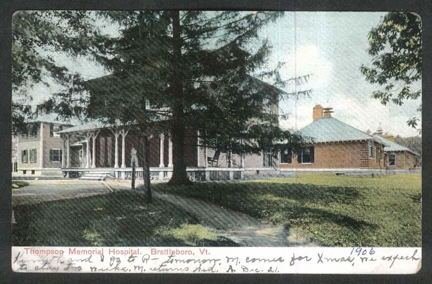 Thompson Memorial Hospital Brattleboro VT undivided back postcard 1906
