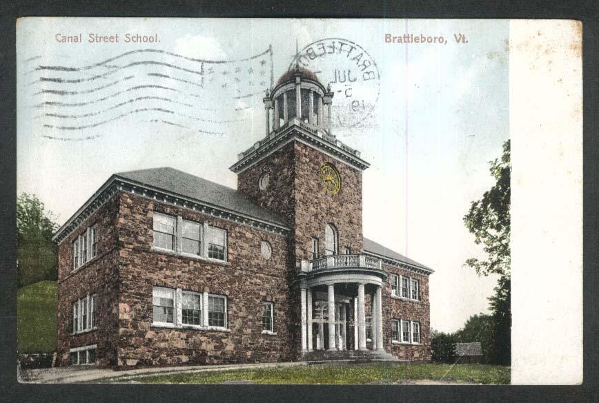 Canal Street School Brattleboro VT postcard 1911