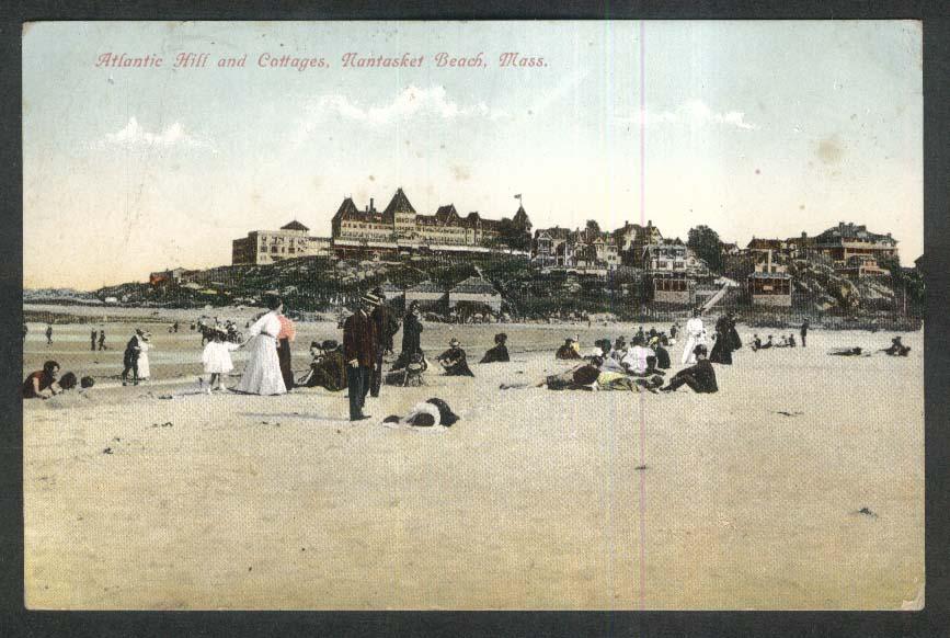 Atlantic Hill & Cottages Nantasket Beach MA postcard 1908