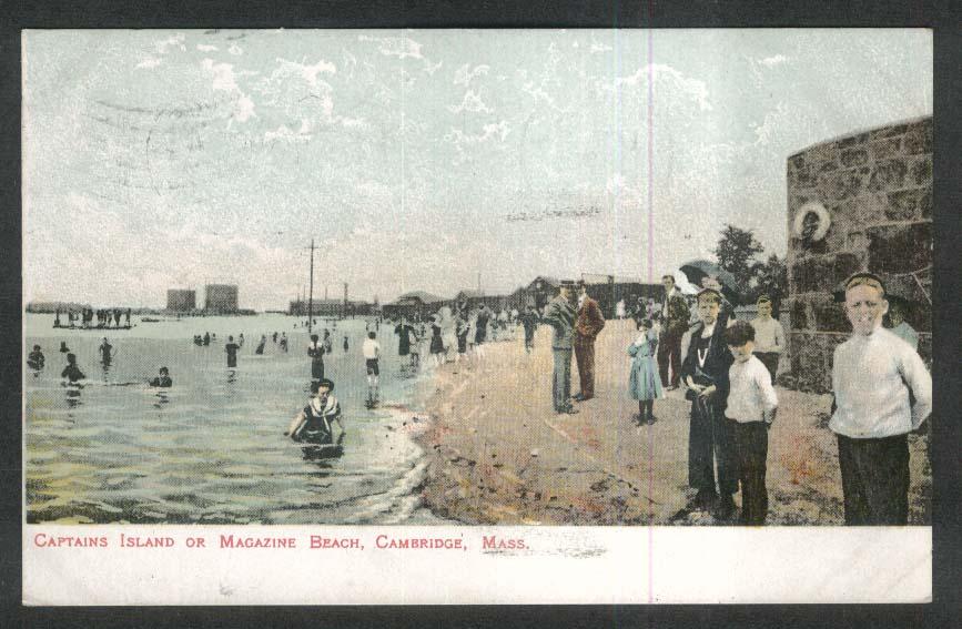 Captains Island or Magazine Beach Cambridge MA postcard 1908