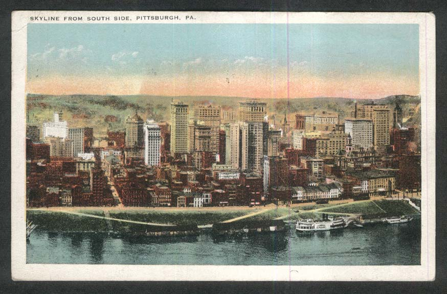 Riverboat & Skyline from South Side Pittsburgh PA postcard 1927