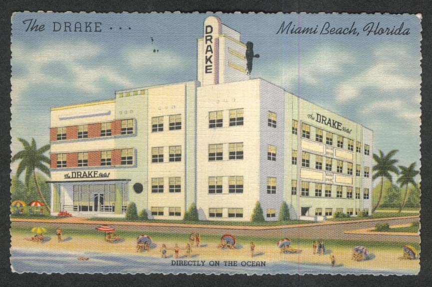 The Drake Hotel Miami Beach FL postcard 1949