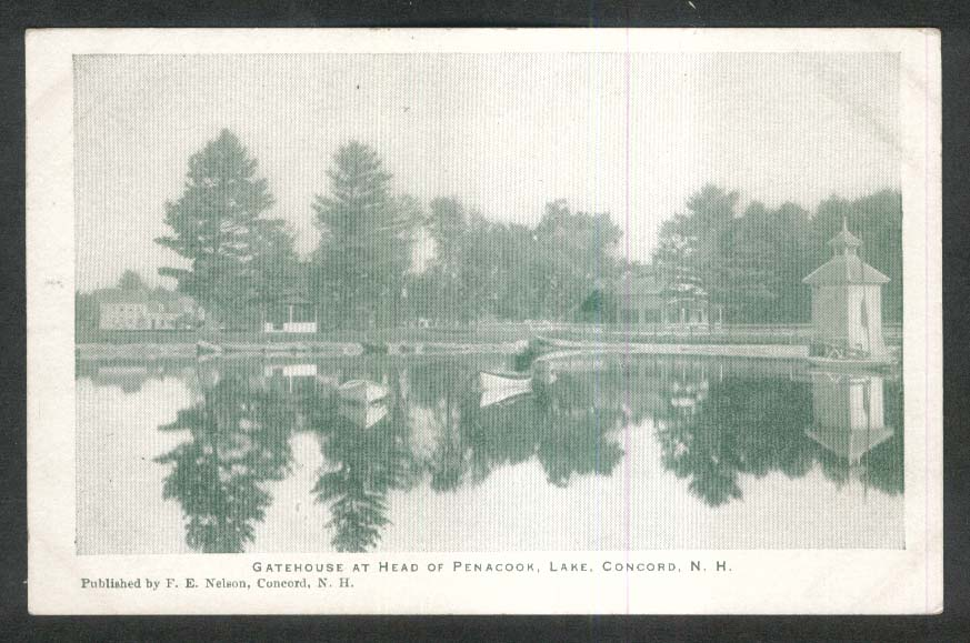 Gatehouse at head of Penacook Lake Concord NH undivided back postcard 1900s