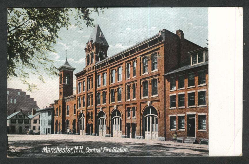 Manchester NH Central Fire Station postcard 1911