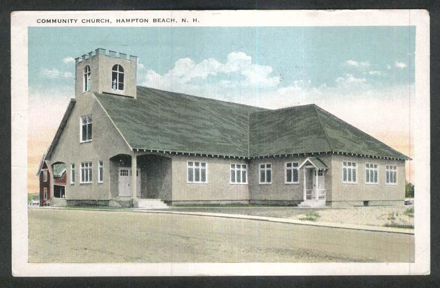 Community Church Hampton Beach NH postcard 1933