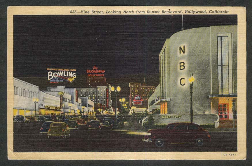 Bowling Brown Derby Tropics NBC Vine St Sunset Blvd Hollywood CA postcard 1940s