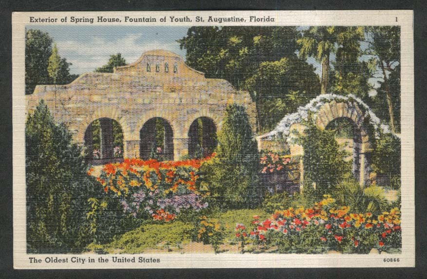 Spring House Fountain of Youth St Augustine FL postcard 1930s