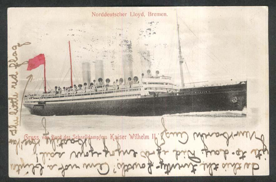 Norddeutscher Lloyd Bremen ship Kaiser Wilhelm II undivided back postcard 1907