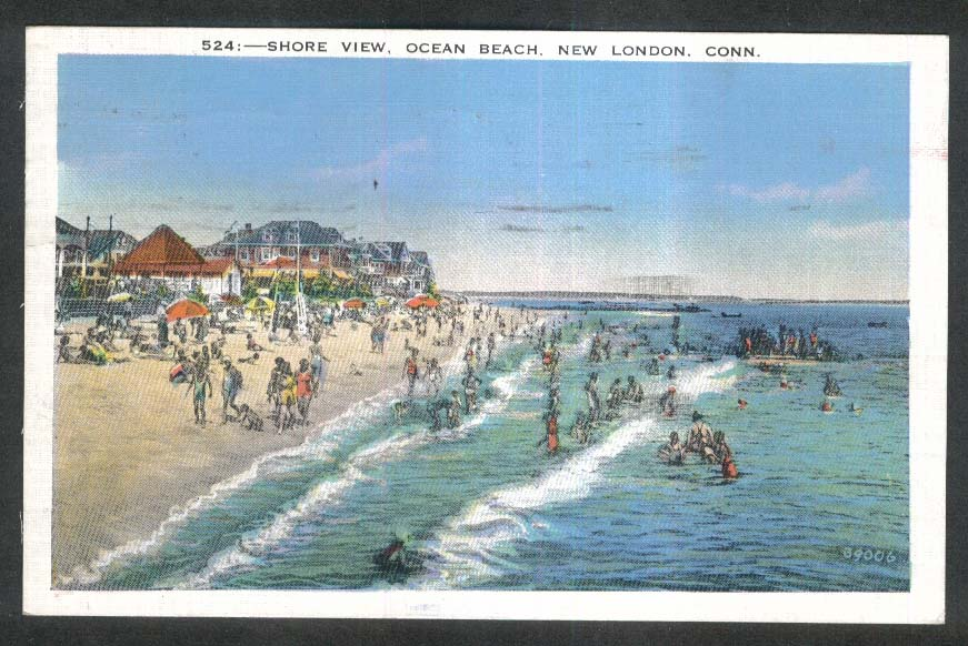 Shore View Ocean Beach New London CT postcard 1936