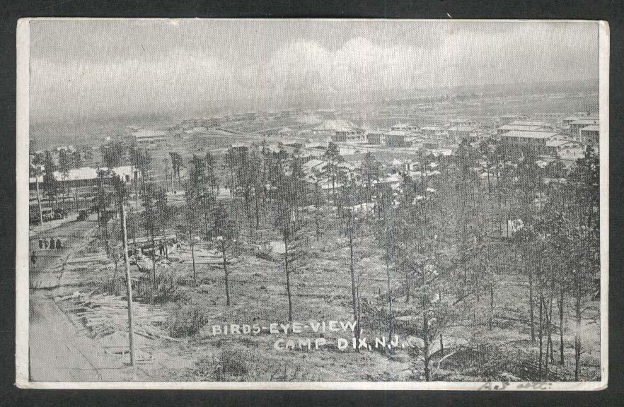 Birds-Eye-View Camp Dix NJ undivided back postcard 1918