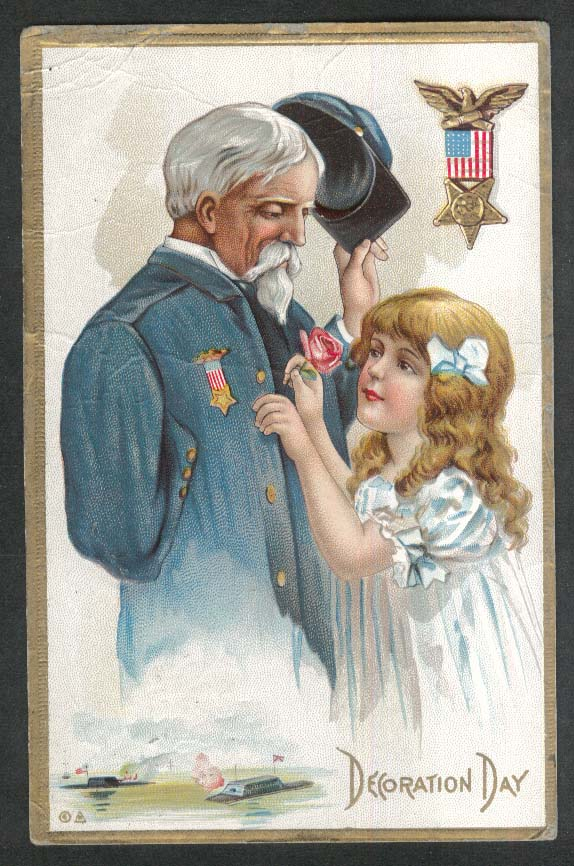 One-armed GAR Civil War Veteran & girl Decoration Day embossed postcard 1910s