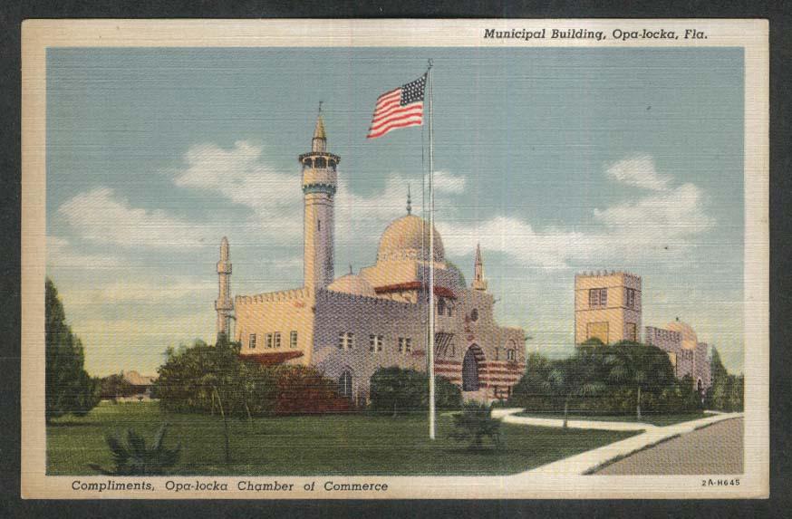 Municipal Building Opa-locka FL postcard 1949