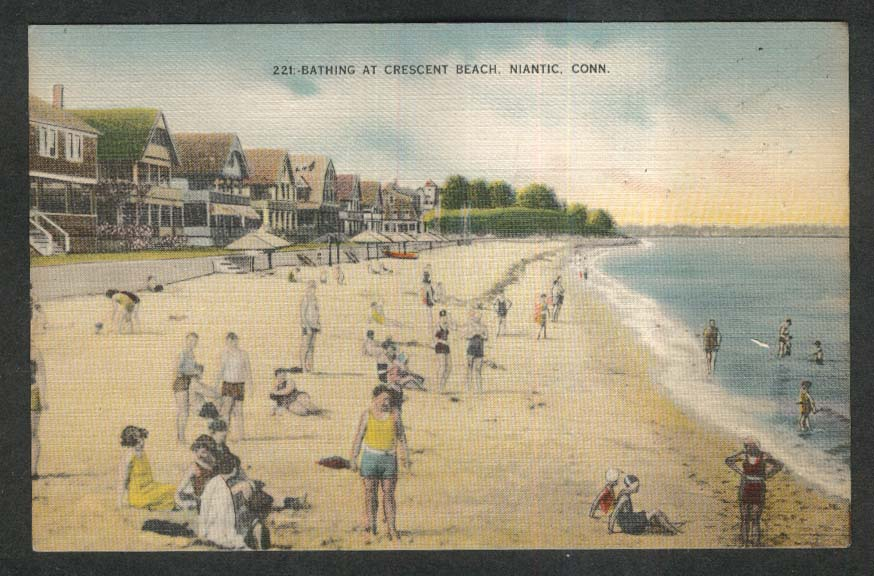 Bathing at crescent beach niantic ct postcard 1945 sciox Choice Image