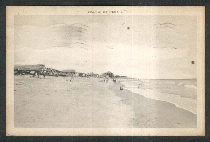 Beach at Matunuck RI postcard 1943