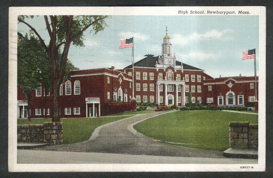 High School Newburyport MA postcard 1944