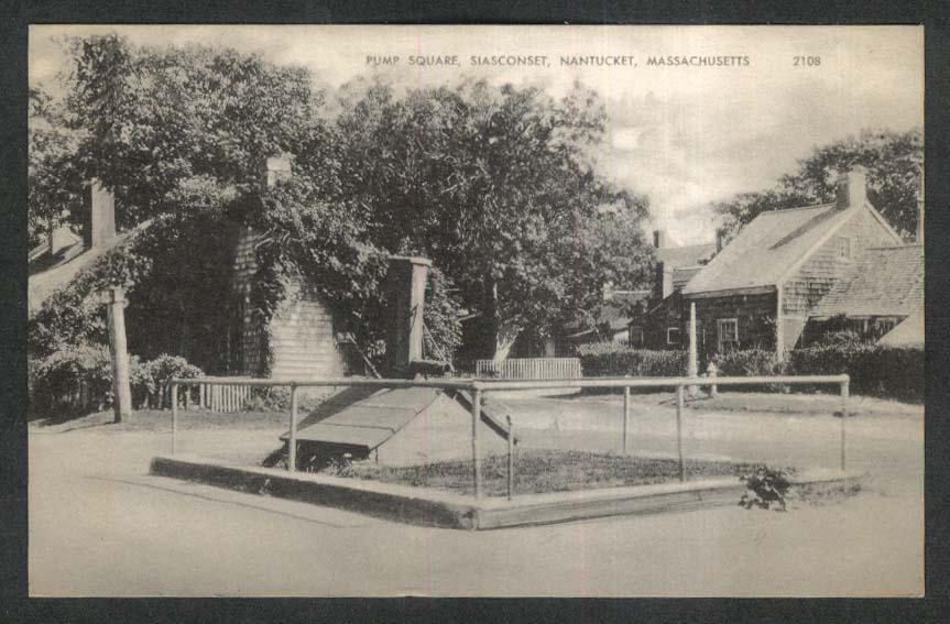 Pump Square Siasconset Nantucket MA postcard 1944