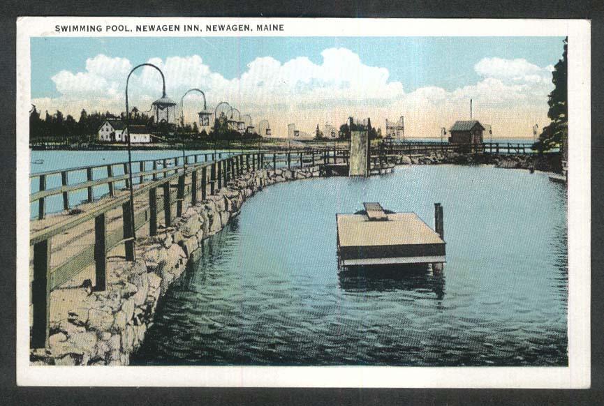 Swimming Pool Newagen Inn ME postcard 1932