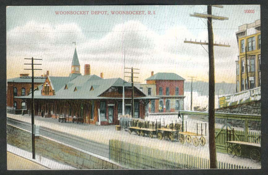 Narraganset Lager sign Woonsocket Depot Woonsocket RI postcard 1908