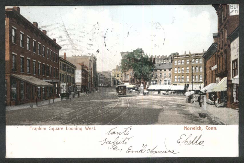 Franklin Square looking west Norwich CT undivided back postcard 1900s