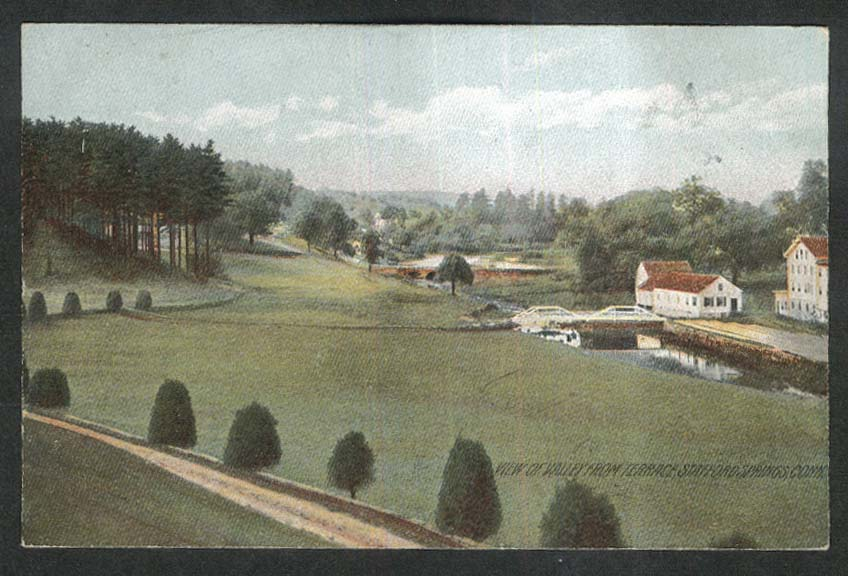 View of Valley from Terrace Stafford Springs CT postcard 1909