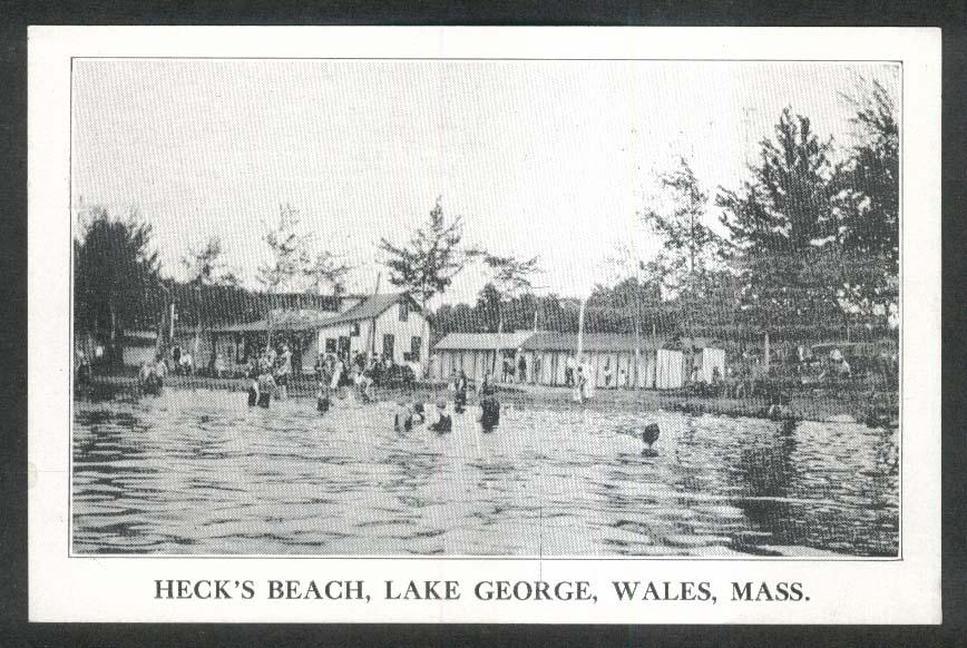 Heck's Beach Lake George Wales MA postcard 1930s