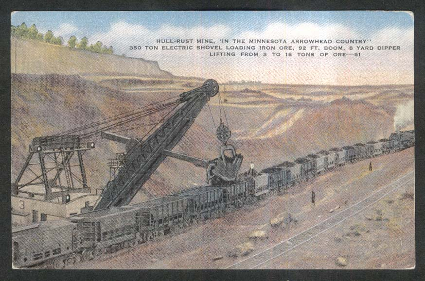 Hull-Rust Mine 350 Ton Electric Shovel Iron Ore MN postcard 1940s