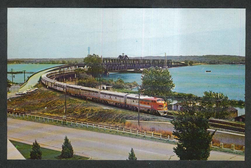Leaving Santa Fe Bridge over Mississippi River Fort Madison IA postcard 1960s