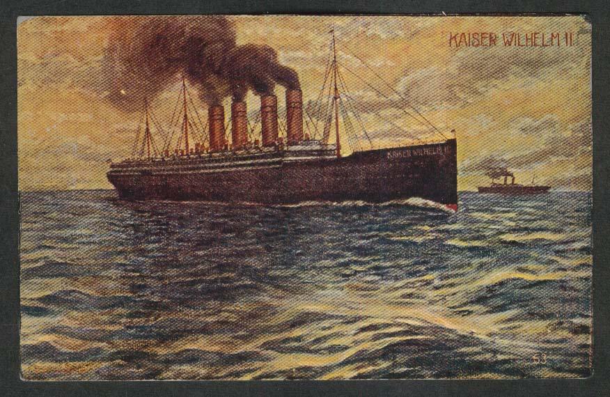 Kaiser Wilhelm II undivided back postcard 1900s ocean liner