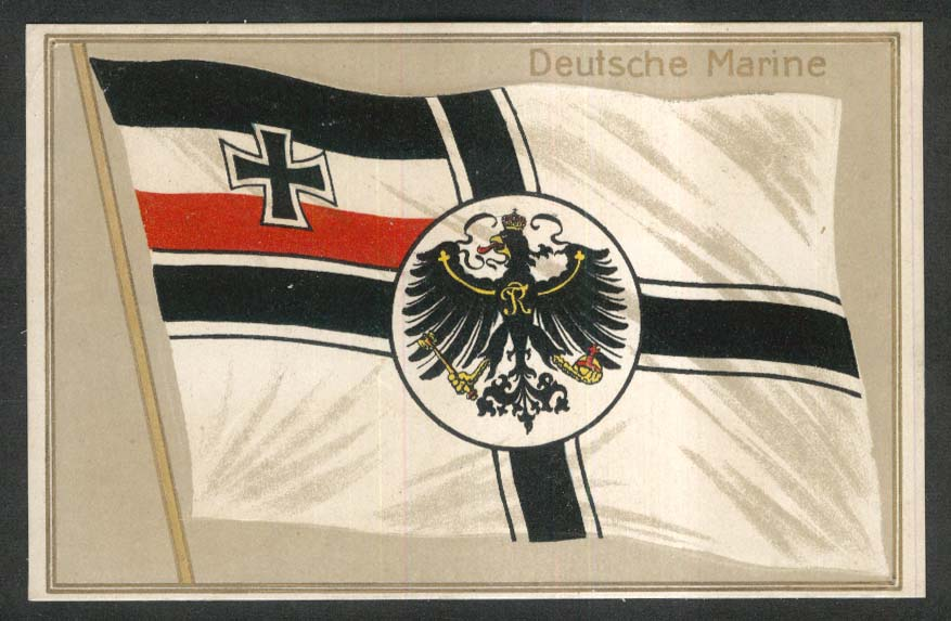 Deutsche Marine Imerial Navy Reich War ensign flag embossed postcard 1910s