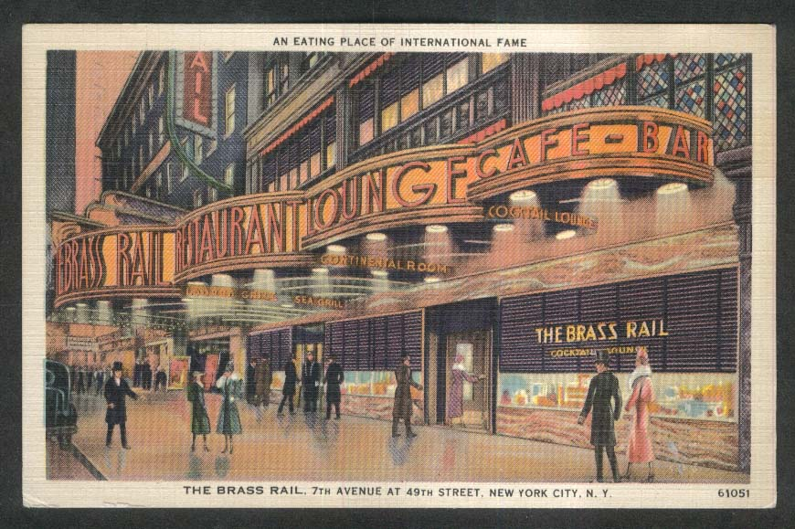 The Brass Rail 7th Ave & 49th St New York City NY postcard 1930s
