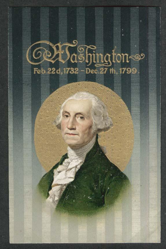 George Washington portrait embossed gilded postcard 1910s