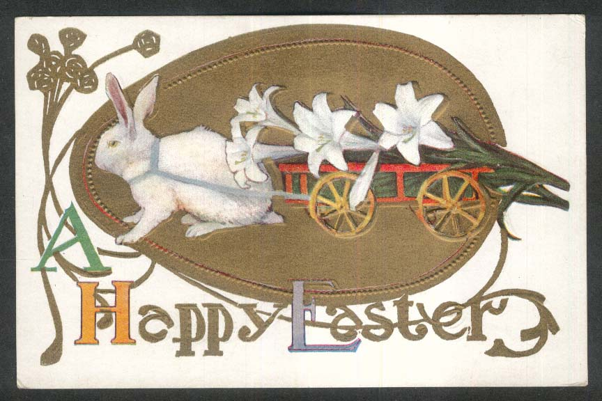 Happy Easter rabbit pulling white lilies cart embossed postcard 1910s