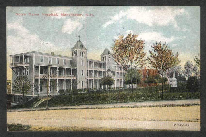 Notre Dame Hospital Manchester NH postcard 1910