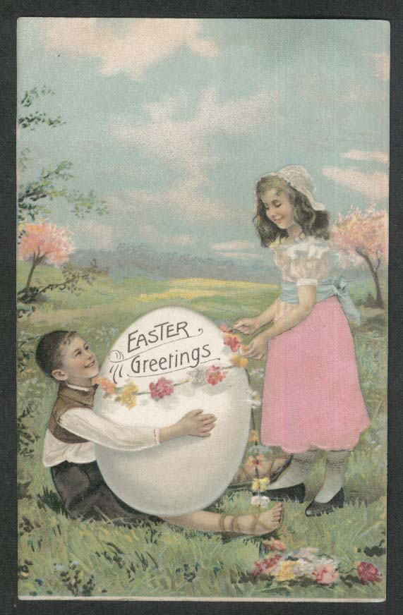 Easter Greetings boy egg girl flowers embossed postcard 1911