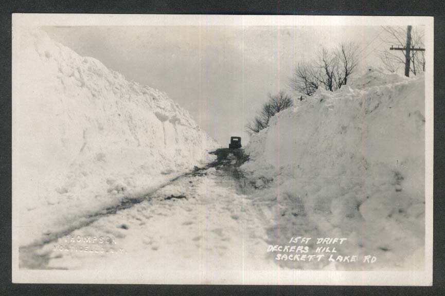 15 foot snow drift Deckers Hill Sackett Lake Rd WI RPPC postcard 1930s
