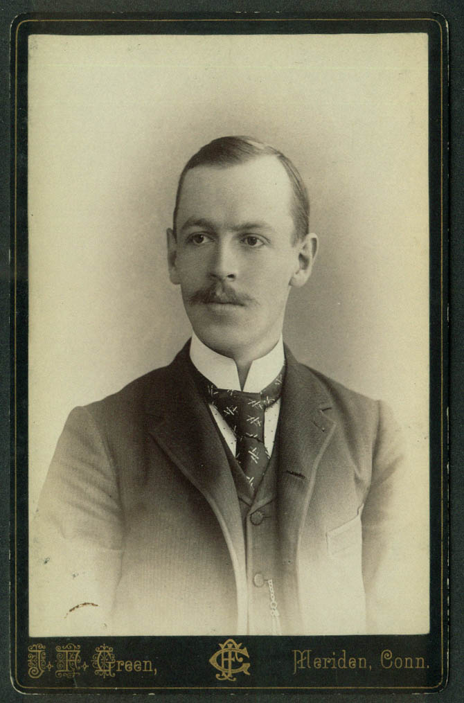 Willis J Prouty cabinet photo  by J F Green Meriden CT ca 1890s mustache