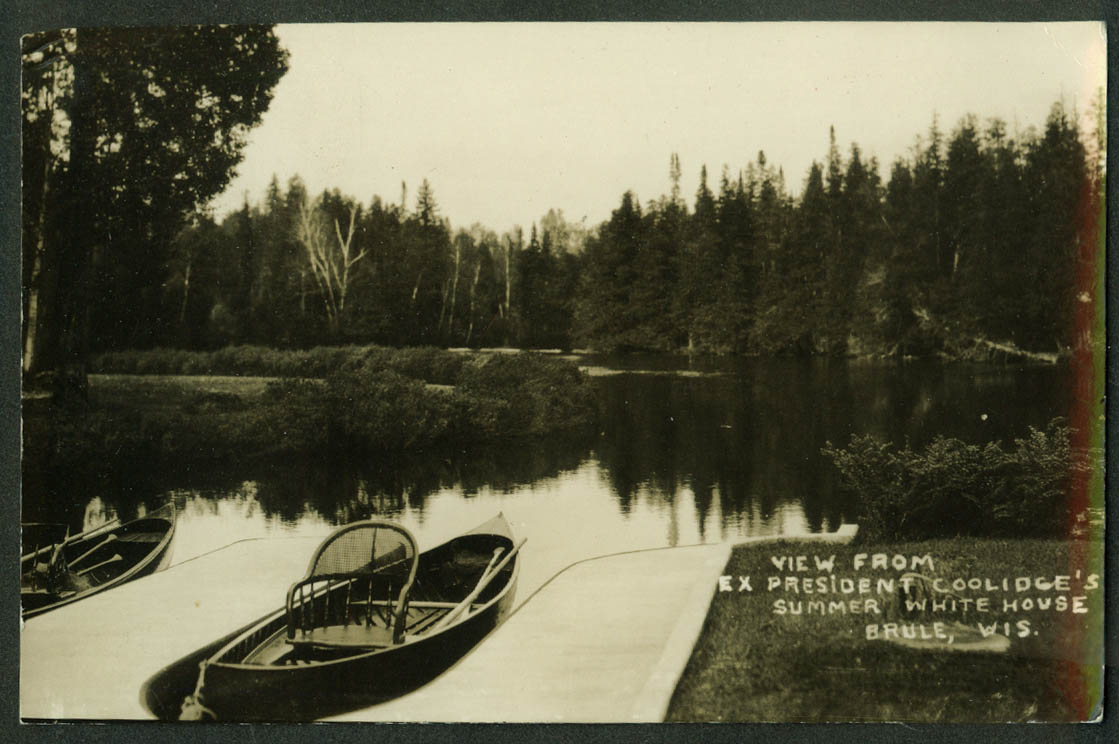 View off canoe dock Calvin Coolidge Summer White House Cedar Island WI RPPC 1928