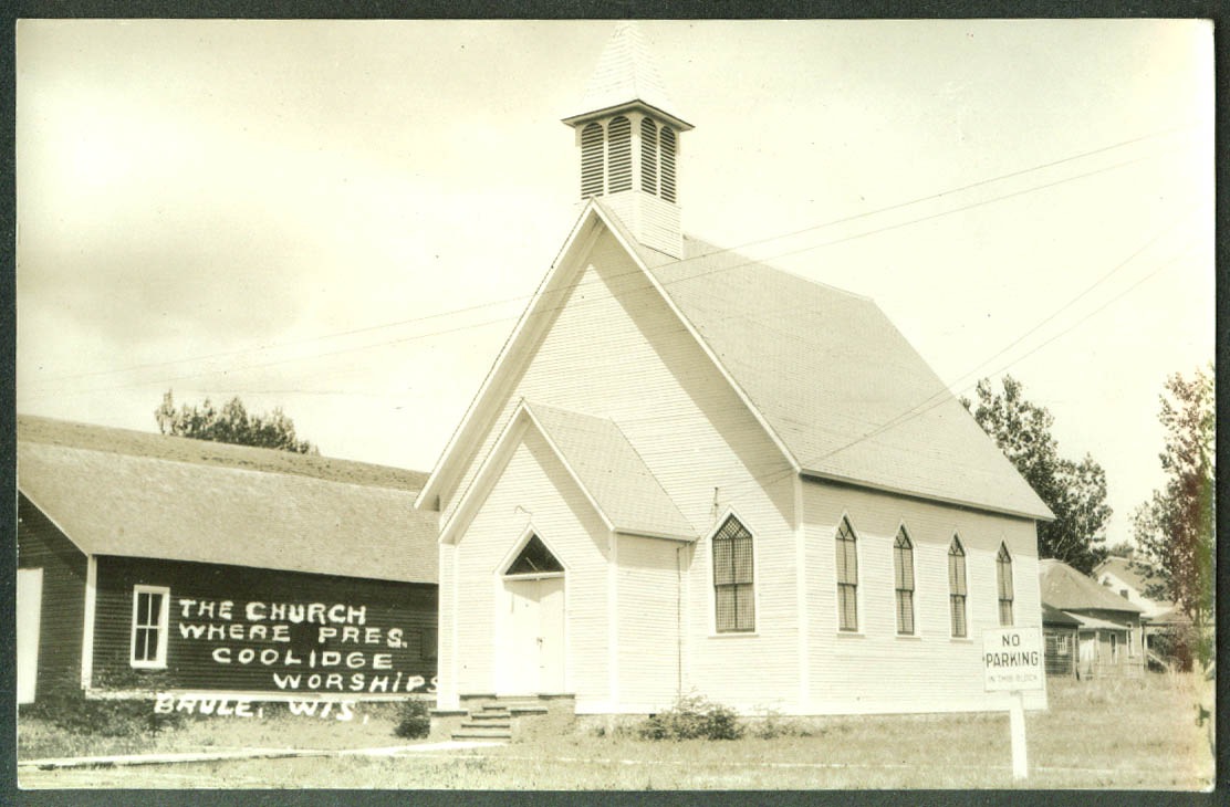 Church where Calvin & Mrs Coolidge worship Brule WI  RPPC 1928
